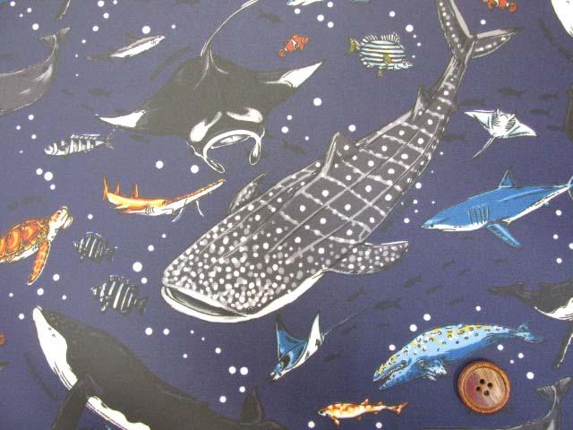 画像1: 海の生き物・サメ・クジラ・カメ柄 オックス生地 (紺) ラミネート (つや消し)