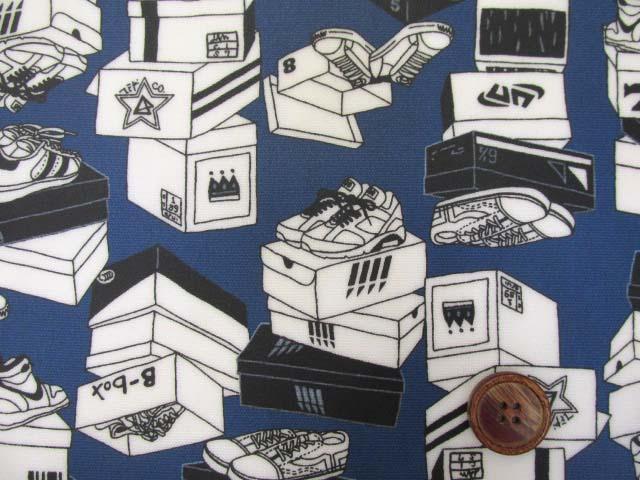 画像1: スニーカー・シューズ柄 オックス生地 (ブルー) ラミネート (つや消し)