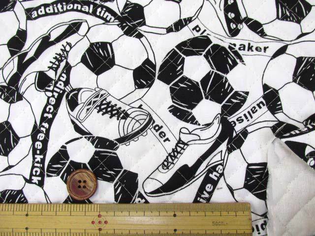 画像3: サッカーボール・シューズ柄 オックス生地 (オフ)  全針キルト