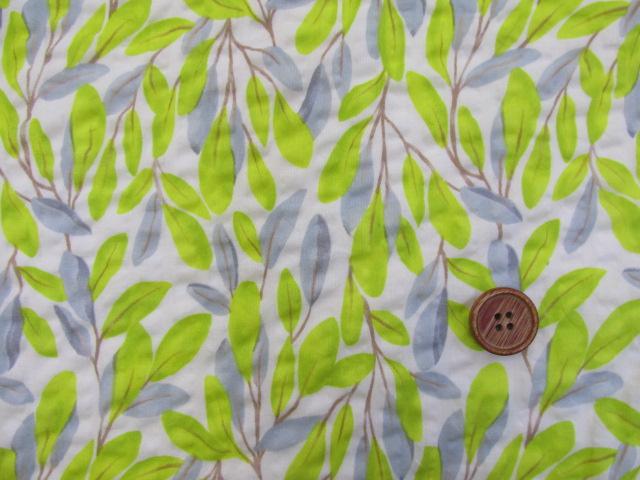 画像1: (3)#60ローンリップル ボタニカル葉柄 はぎれ60cm(オフ)