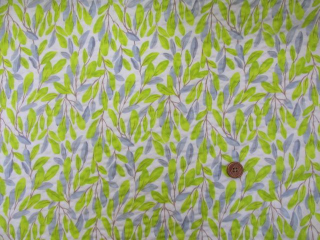画像2: (3)#60ローンリップル ボタニカル葉柄 はぎれ60cm(オフ)