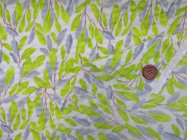 画像3: (3)#60ローンリップル ボタニカル葉柄 はぎれ60cm(オフ)