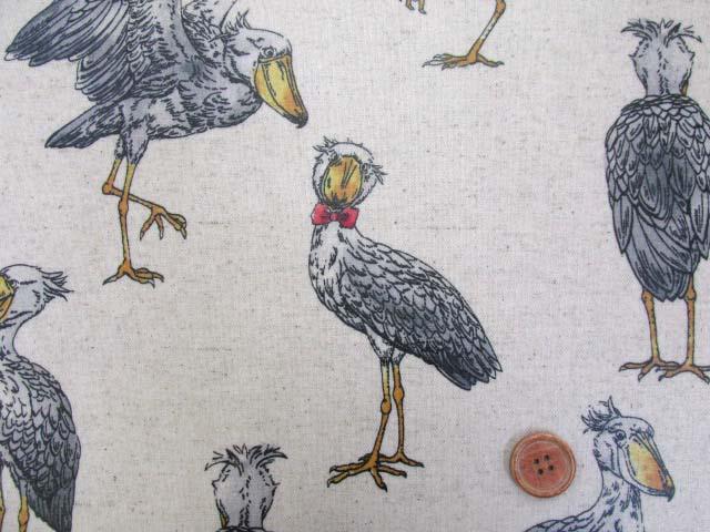 画像1: 綿麻キャンバス 大柄 ハシビロコウ柄 (生成り) ラミネート つや消し