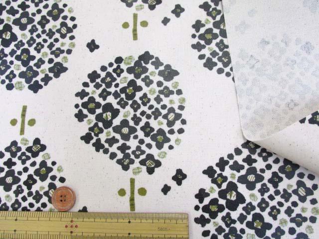 画像3: 北欧の森 大柄 アジサイ・フラワー柄 (生成り) 10番オックス生地 ラミネート つや消し