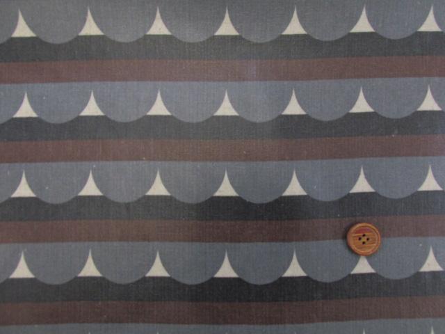 画像2: 綿麻ハーフリネンキャンバス生地 ハーフサークル・ボーダー柄  (茶)ラミネート ツヤ消し
