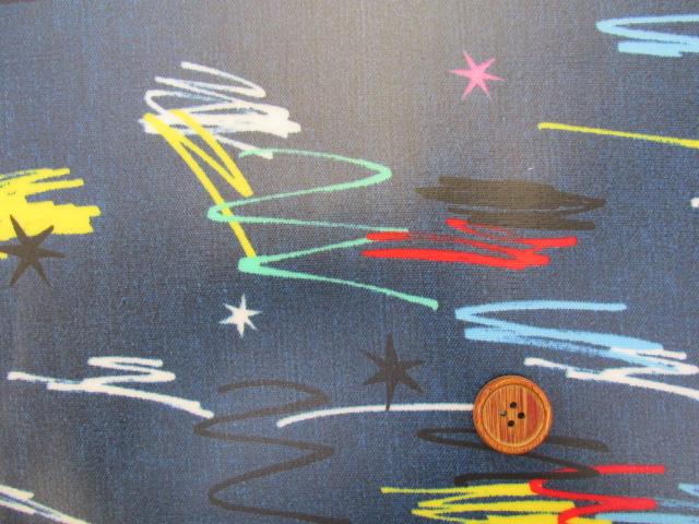 画像1: デニム調 ペイント スター・ライン柄 オックス生地 (コバルトブルー) ラミネート はぎれ1m↑