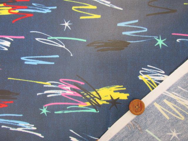 画像3: デニム調 ペイント スター・ライン柄 オックス生地 (コバルトブルー) ラミネート はぎれ1m↑