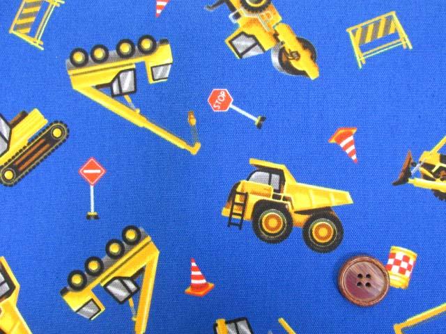 画像1: はたらくくるま・ダンプカー・シャベルカー柄 オックス生地 (ブルー)