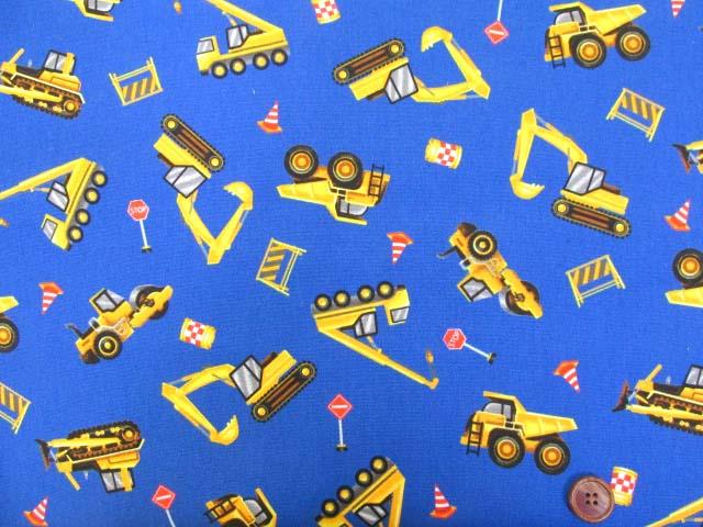 画像2: はたらくくるま・ダンプカー・シャベルカー柄 オックス生地 (ブルー)