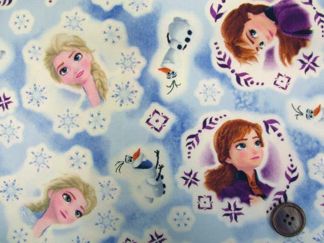 画像1: (C)2019年 ディズニー アナと雪の女王2柄 オックス生地 はぎれ20cm