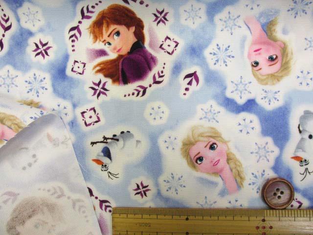 画像3: (C)2019年 ディズニー アナと雪の女王2柄 オックス生地 はぎれ20cm