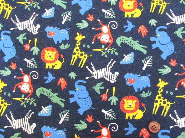 画像2: 野生の動物柄・ライオン・シマウマ・キリン・サル オックス生地 (ネイビー)
