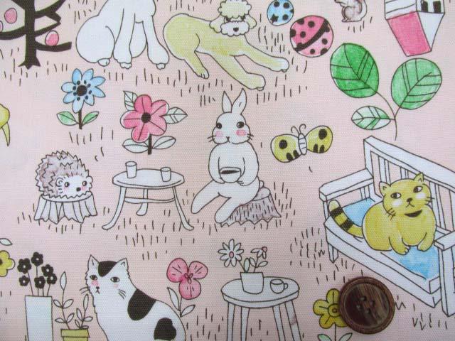 画像1: アニマルパーク・犬・猫・うさぎ・ハリネズミ柄 オックス生地 (ピンク)