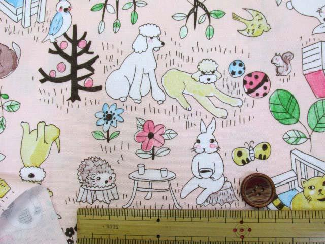 画像3: アニマルパーク・犬・猫・うさぎ・ハリネズミ柄 オックス生地 (ピンク)
