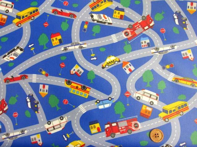 画像2: はたらくくるま 道路・街並み柄 ツイル生地 (ブルー)  ラミネート つや消し