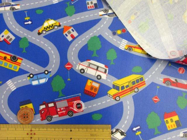 画像3: はたらくくるま 道路・街並み柄 ツイル生地 (ブルー)  ラミネート つや消し