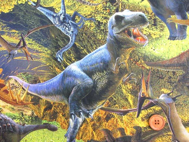 画像1: ダイナソー・恐竜柄 インクジェットプリント オックス生地