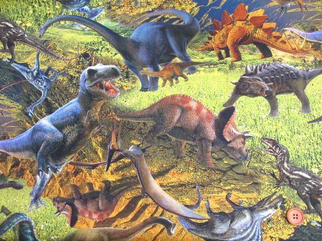 画像2: ダイナソー・恐竜柄 インクジェットプリント オックス生地