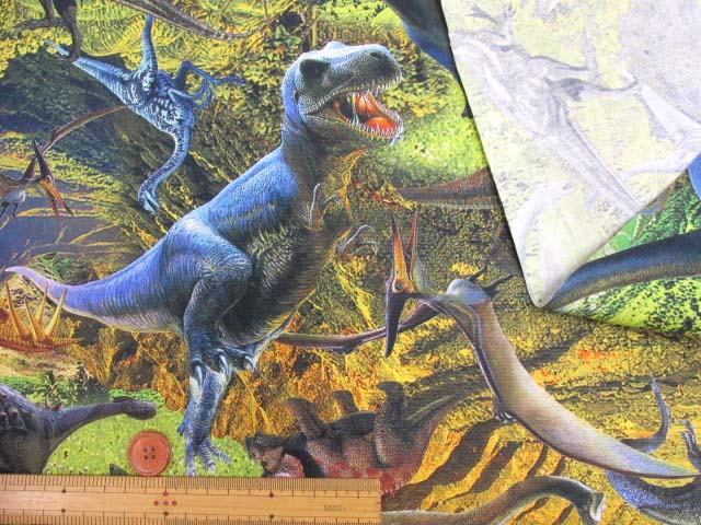 画像3: ダイナソー・恐竜柄 インクジェットプリント オックス生地