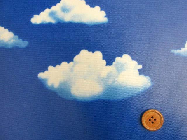 画像1: 青空・くも柄 オックス生地  ラミネート つや消し