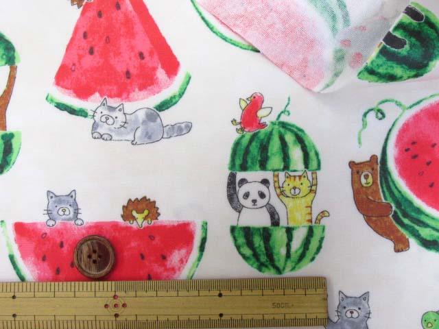 画像3: スイカと動物柄 オックス生地 (オフ) ラミネート  はぎれ85cm↑