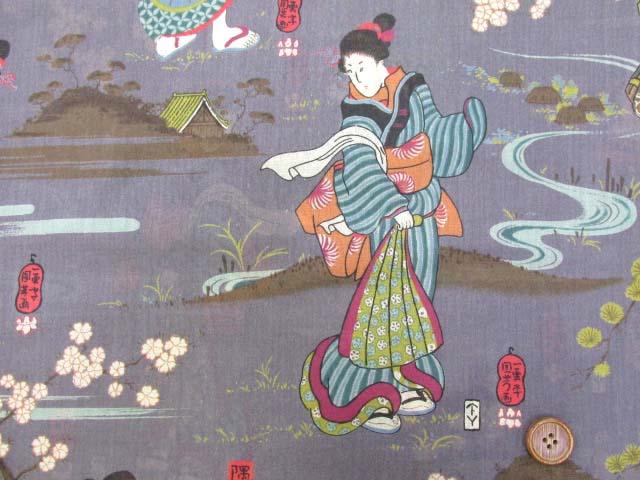 画像1: 和柄 日本画柄 ヴィンテージローン生地 (紫)