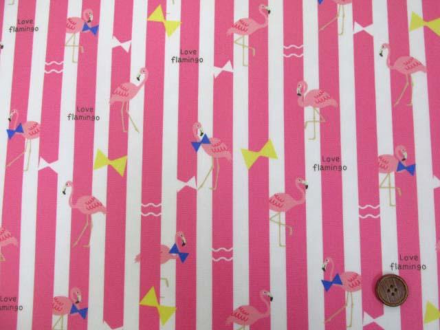 画像2: フラミンゴ・ストライプ柄 オックス生地 (ピンク) ラミネート つや消し