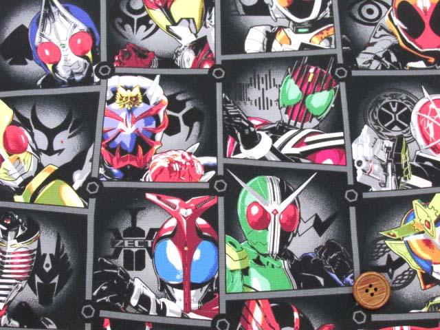 画像1: 2020年 仮面ライダー オールスターズ柄 (ブラック) オックス生地