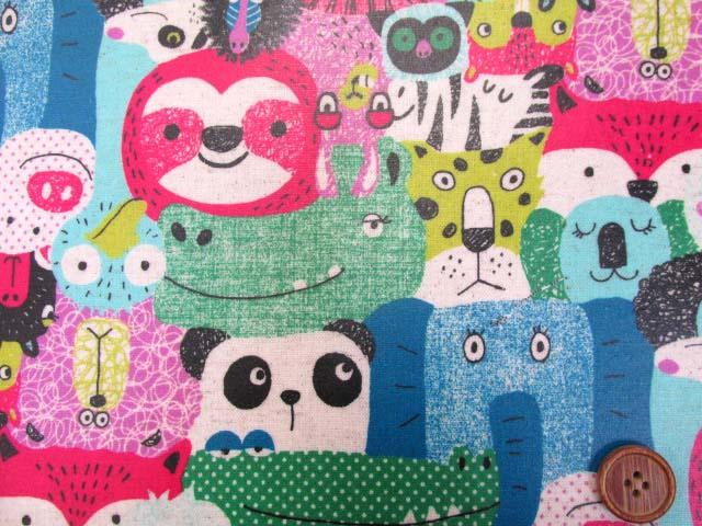 画像1: 綿麻キャンバス  カラフルアニマル・動物柄 (ピンク系)  ラミネート つや消し