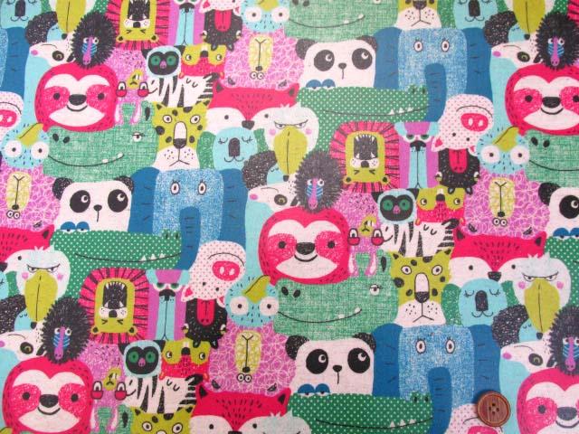 画像2: 綿麻キャンバス  カラフルアニマル・動物柄 (ピンク系)  ラミネート つや消し