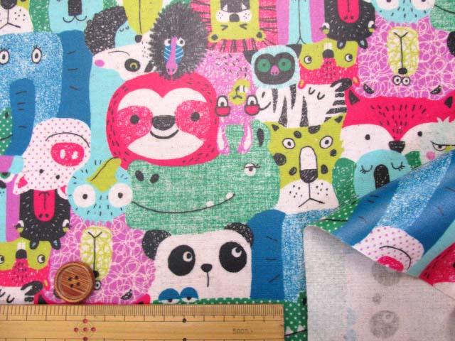 画像3: 綿麻キャンバス  カラフルアニマル・動物柄 (ピンク系)  ラミネート つや消し