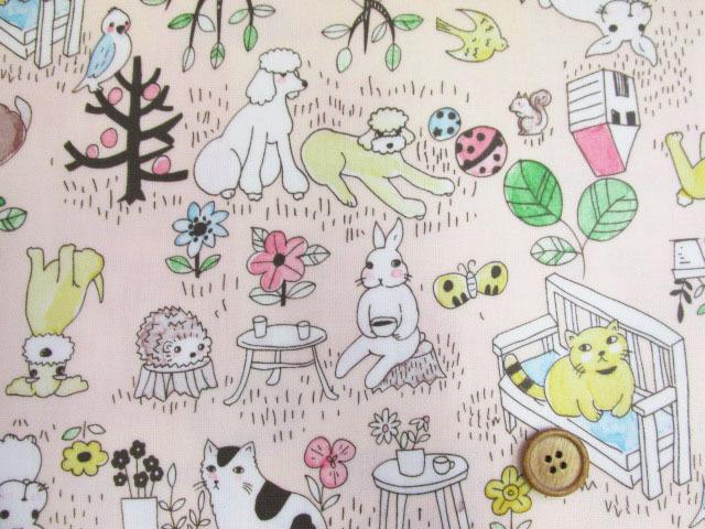 画像1: アニマルパーク・犬・猫・うさぎ・ハリネズミ柄 オックス生地 (ピンク) ラミネート つや消し
