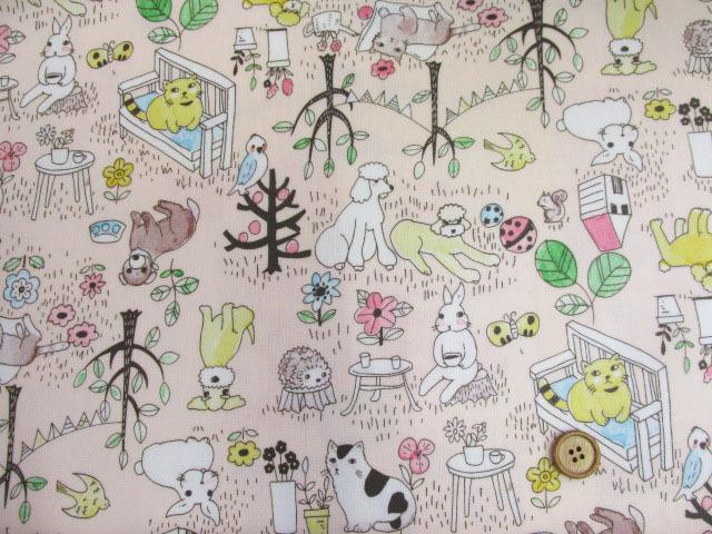 画像2: アニマルパーク・犬・猫・うさぎ・ハリネズミ柄 オックス生地 (ピンク) ラミネート つや消し