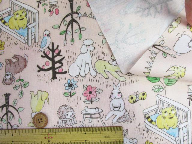 画像3: アニマルパーク・犬・猫・うさぎ・ハリネズミ柄 オックス生地 (ピンク) ラミネート つや消し