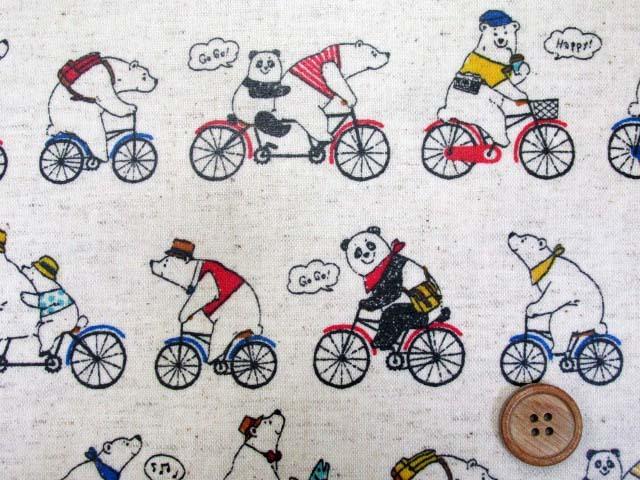 画像1: 綿麻キャンバス  シロクマとパンダのツーリング柄 (生成り) ラミネート つや消し