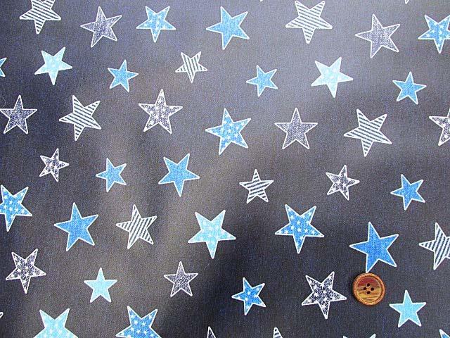 画像2: デニム調 ブルースター・星柄 オックス生地 ラミネートはぎれ80cm↑