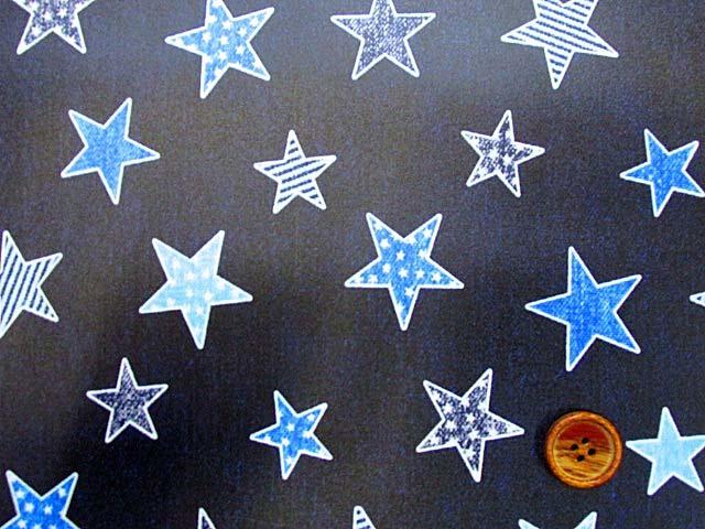 画像1: デニム調 ブルースター・星柄 オックス生地 ラミネートはぎれ80cm↑