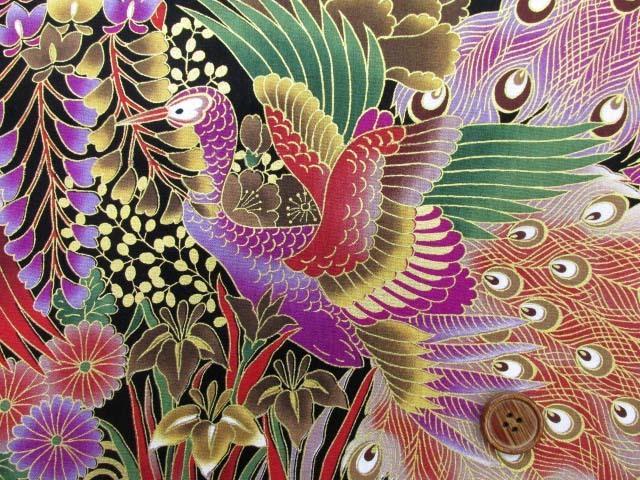 画像1: 和柄 孔雀と彼岸花柄 20サイフ生地 ゴールドラメ入り (黒地)
