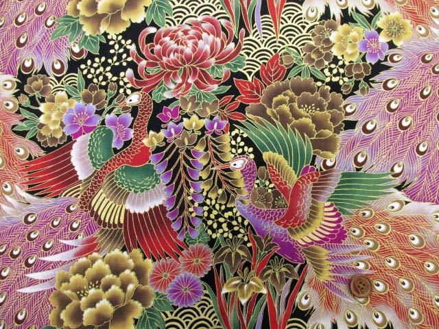 画像2: 和柄 孔雀と彼岸花柄 20サイフ生地 ゴールドラメ入り (黒地)