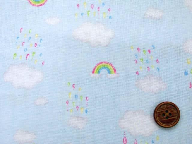 画像1: Wガーゼ生地 虹と雨空柄 (ブルー地)
