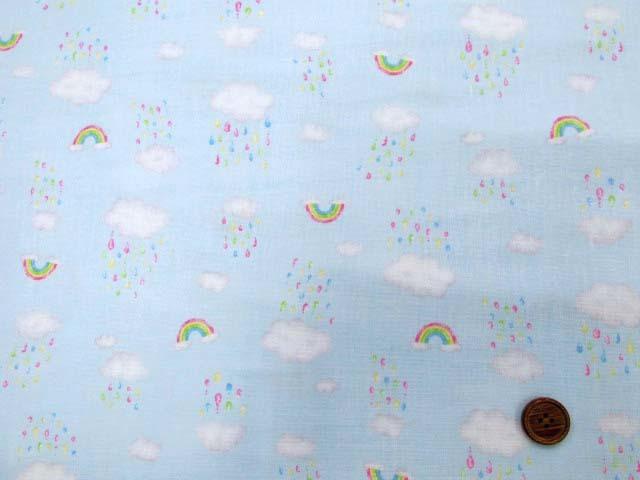 画像2: Wガーゼ生地 虹と雨空柄 (ブルー地)