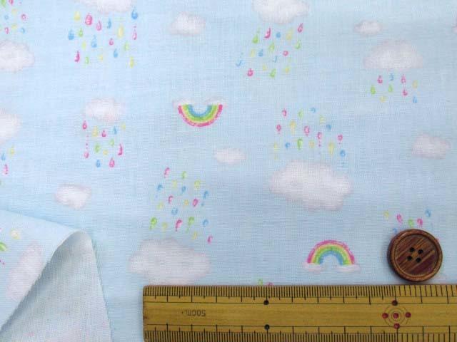 画像3: Wガーゼ生地 虹と雨空柄 (ブルー地)