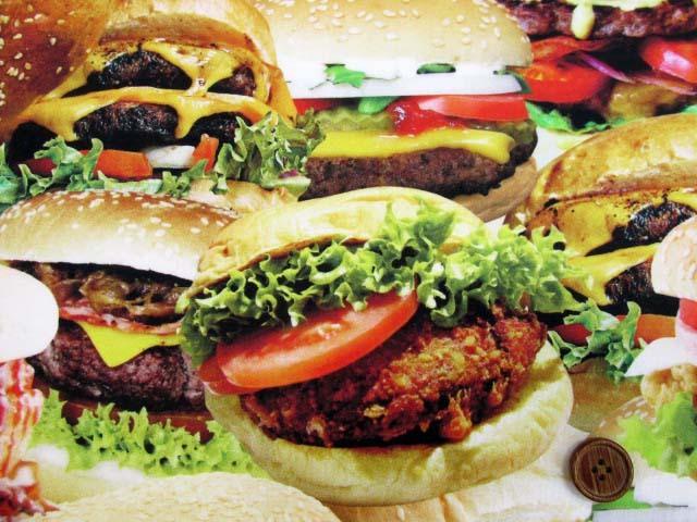 画像2: さららシリーズ ハンバーガー・ポテトフライ柄 インクジェットプリント シーチング生地