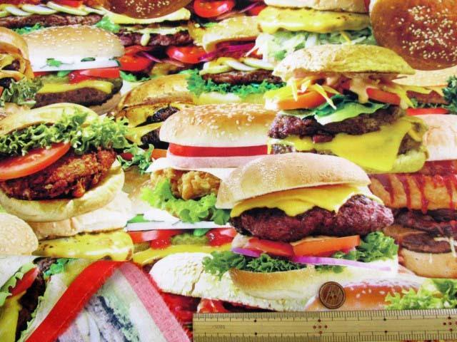 画像3: さららシリーズ ハンバーガー・ポテトフライ柄 インクジェットプリント シーチング生地