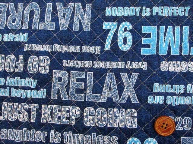 画像1: デニム調 英字・ロゴ柄 オックス生地 全針キルト