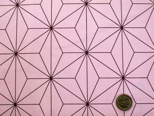 画像1: コスプレ衣装などに!! 和柄 麻の葉柄 ブロード生地 (ピンク地)