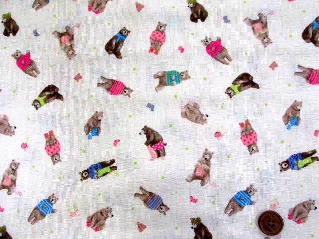 画像2: Wガーゼ生地 クマ君の洋裁・編み物柄