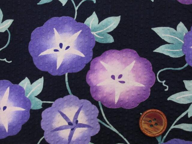 画像1: あさがお・アサガオ・お花柄 リップル生地 (紺地)