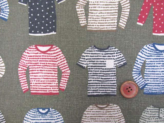 画像1: 綿麻キャンバス セーター・ニット・カーディガン・洋服柄 (カーキグレー)