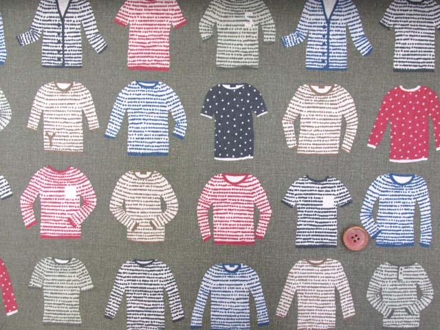 画像2: 綿麻キャンバス セーター・ニット・カーディガン・洋服柄 (カーキグレー)